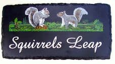 Large Rustic House Sign with hand painted pictorial
